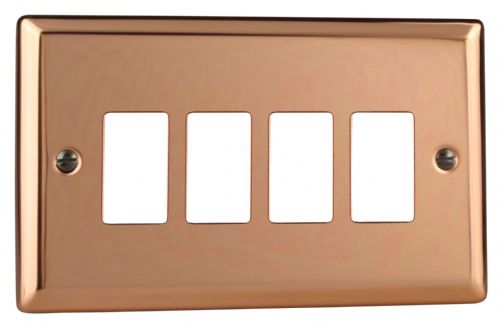 Varilight XYPGY4.CU Urban Polished Copper 4 Gang PowerGrid Plate (Twin Plate)